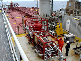 Side view oil water separator for produced water is a compact turnkey solution installed on an offshore FPSO